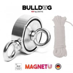Aimant néodyme Bulldog 420 kg (2 x 210 kg) + corde