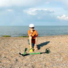 Midi hoard détecteur enfant plage